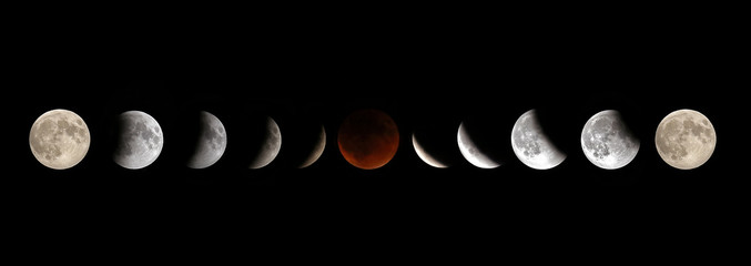 Full Moon Lunar Eclipse Phases Wall mural