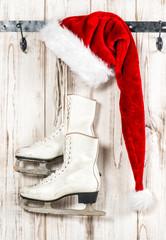 Vintage christmas decoration. Red Santa Claus hat