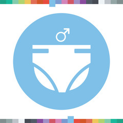 Diapers for boys icon.