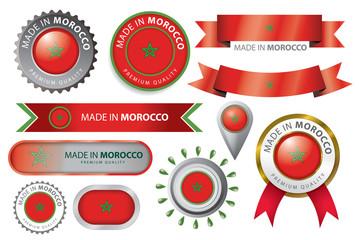 Made in Morroco Seal, Moroccan Flag (Vector Art)