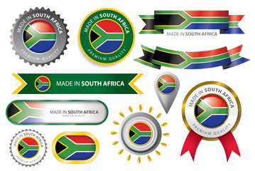 Made in South Africa Seal, South African Flag (Vector Art)