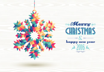Merry christmas happy new year 2016 triangle snow