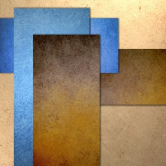 blue and brown abstract rectangle layout on beige textured background, business report or blank website design template