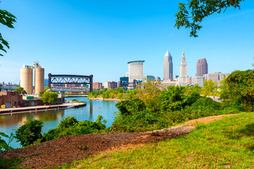The Cuyahoga River winds past downtown Cleveland, Ohio