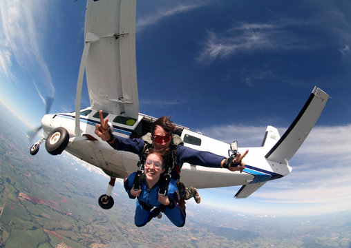 Sky diving tandem exit from the plane