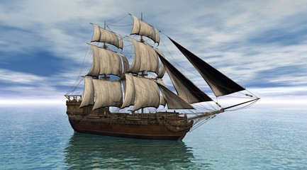 Sailing ship on a calm ocean, 3d digitally rendered illustration