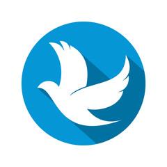 Circle Flat Style Dove Logo Icon