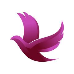 Beautiful Graceful Dove Fly - Logo Illustration