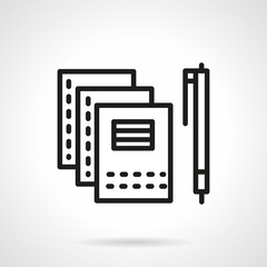 Copybooks and pen black line vector icon.