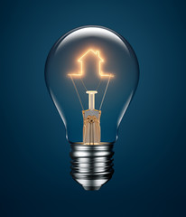 Light Bulb with Filament Forming a House Icon