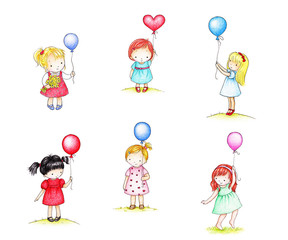 little girsl with balloons