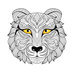 Detail zentangle tiger for coloring page,tattoo, shirt design,logo, sign and so on.