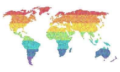 pixel wold map horizontal rainbow