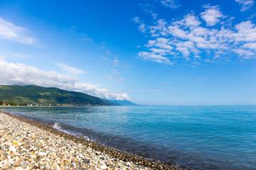 Seashore pebble beach