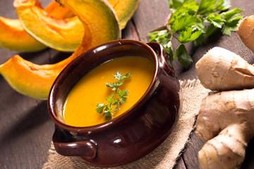pumkin soup in rustic style