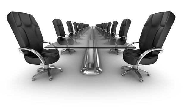 Business workplace, boardroom white interior