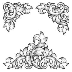 Wall Mural - Baroque leaf frame swirl decorative design element