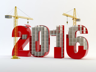 2016 and cranes - red