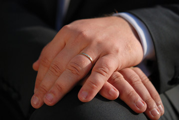 Close-up of elegance man hands with wedding ring