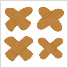 Set of Adhesive, flexible, fabric plaster for dark skin. Medical bandage in different shape - curved cross. Vector illustration isolated on white background.