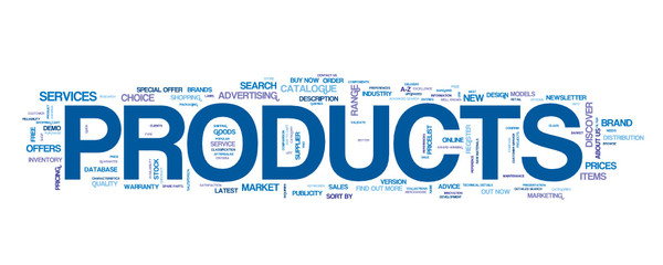 """""""PRODUCTS"""" Vector Tag Cloud"""