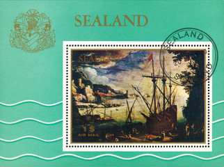 """Sealand - CIRCA 1970: mail stamp printed in Sealand the reproductions of  the Flemish landscape artist Paul Bril """"Port"""", circa 1970"""