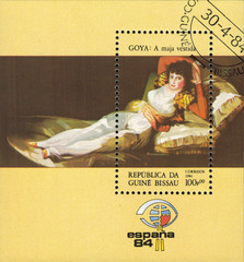 """Republic Of Guinea Bissau - CIRCA 1984: mail stamp printed in Republic Of Guinea Bissau the reproduction of paintings by famous Spanish artist Francisco Goya, """"clothed maja"""", circa 1984"""