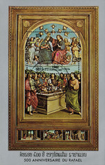 """Laos - CIRCA 1983: mail stamp printed in Laos featuring 500 years since the birth of Raphael. Reproduction of Raphael """"The Coronation of the Virgin Mary. Oddi Altarpiece"""", circa 1983"""