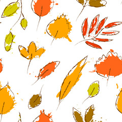 Colorful autumn leaves on white grunge seamless pattern, vector