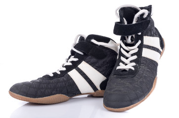Black and white sport shoes