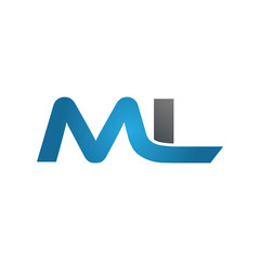 ML company linked letter logo blue