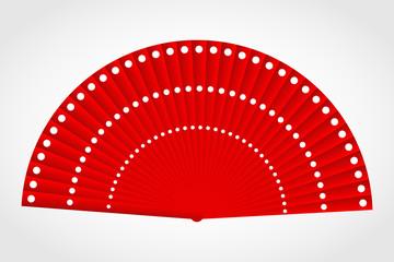 Flamenco polka-dot red fan, vector