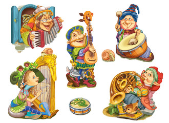 Set elves playing musical instruments.