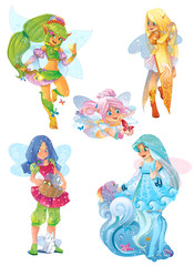 Illustration of fairies set on white