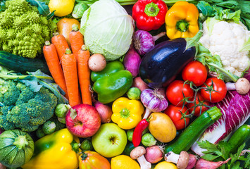 Photo sur Plexiglas Legume Vegetables and fruits background.