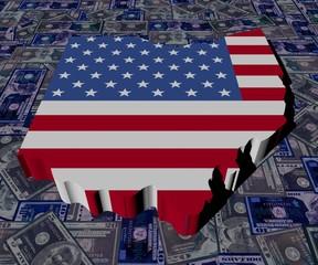 Ohio map flag on dollars illustration