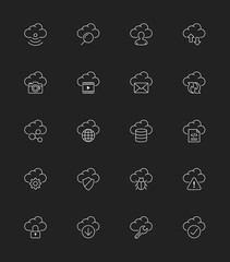 Cloud Computing icons, Thin line - Vector Illustration