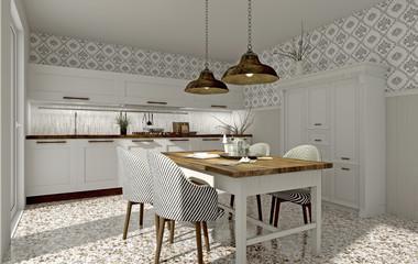 Weiße Küche mit Esstisch im Landhausstil