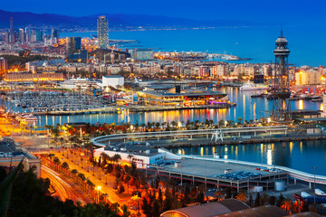 Foto op Canvas Barcelona Port in Barcelona during evening. Catalonia,
