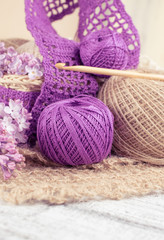 Yarn for crochet and knitted openwork napkins