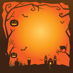 Halloween Background with tree border and castle