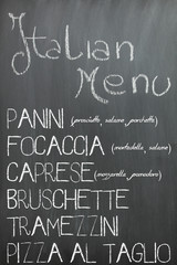 Italian bar menu on a chalkboard