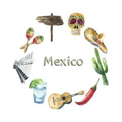 Travel Concept Mexico Landmark Watercolor Icons Design.
