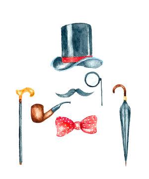 Watercolor vintage gentleman template illustration