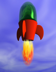 illustration of a toy rocket atking off