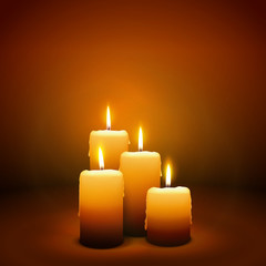 Vierter Advent, vier Kerzen - Kerzenschein auf dunkelbraunem Hintergrund - Adventszeit. Braune, dunkle Vektor Vorlage für Weihnachtskarten, esoterisches, Grußkarten, Trauerkarten und Traueranzeigen.
