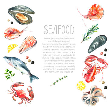 Set of seafood watercolor.