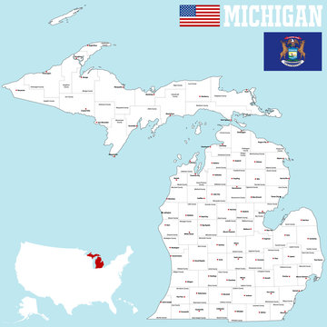 Large and detailed map of the State of Michigan with all counties and county seats.