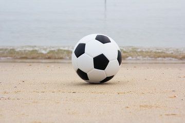 soccer ball on beach