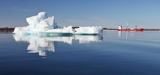 Iceberg and cargo ship